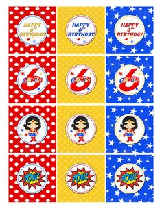 Printable Wonder Woman Cupcake Toppers by PartyInnovations09