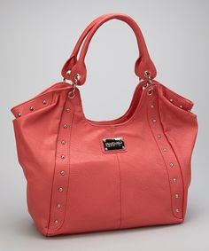 Take a look at this Coral Studded Hobo on zulily today!