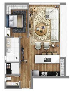 Small Home Remodel Designs Under 50 Square Meters - Di Home Design Studio Apartment Layout, Small Apartment Design, Studio Floor Plans, House Floor Plans, Apartment Floor Plans, Narrow House, Tiny Apartments, Tiny House Design, Small House Plans