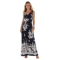 Chaps Printed Empire Maxi Dress - Women's