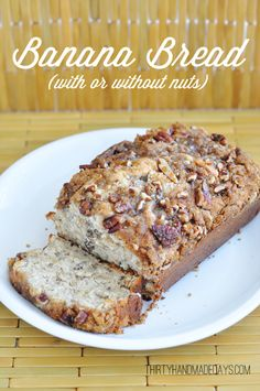 Banana Bread (with or without nuts)This recipe is moist and delicious! It might have something to do with the cream cheese in the batter. I made mine with pecans and a yummy nut topping but that is optional.