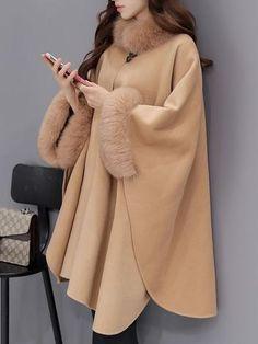 Product Hairy collar temperament pure color shawl coat Brand Name Shkeysshop SKU Gender Women Style Elegant/Sexy/Fashio Winter Coat Outfits, Winter Coats, Mode Mantel, Stylish Coat, Stylish Jackets, Cape Coat, Poncho Coat, Dress Silhouette, Mode Hijab