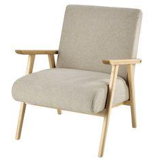 Fabric armchair in beige - Benson