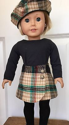 18-034-Doll-Clothes-American-Girl-Handmade-Set-Skirt-Beret-Top-Flannel-Side-Button