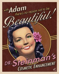 "After all, Dr. Steinman photobooth/ photo station with different eyes, lips, hair, etc. to try on to ""become more beautiful"""