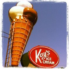Photographs of Vintage Signs- Knoxville, TN- Southeastern Architecture.  Kays Ice Cream in South Knoxville.