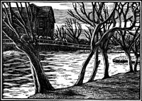 Gwen Raverat wood engraving November, Time & Tide 1.11.1930, 64 x 89mm, block cut 1930.