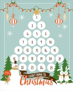 FREE Christmas Countdown Printable - download and use this cute and free print to help the kids count down to Christmas!
