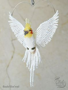 Cockatiel Suncatcher, Bird Ornament, Bird Necklace, Bird Lover Gift, Cockatiel Bird Figurine, Beaded Bird Window Decor, Car Charm, BB#136