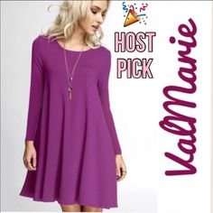 """❗️LAST ONE❗️Orchid Long Sleeve Swing Dress MADE IN USA MY LAST MEDIUM Comfy, casual, and easy to layer swing dress made in a stretchy rayon/spandex jersey in the USA! Have in S (2-4) M(6-8) L(10-12) price is firm unless bundled.   Pair up w/ vests, sweaters, coats, leggings, boots or heels!  A great dress to transition from day2night!  Approx Measurements: S: Length 32"""", Bust 34"""" to 38"""" M: Length 32.5"""", Bust 36"""" to 40"""" L: Length 33"""", Bust 38"""" to 42""""   You may purchase this listing as I've…"""