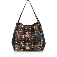 d49c3b3b3c2 Burberry Canter Small Camouflage Check Textile   Leather Tote (43.430 UYU)  ❤ liked on