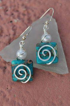 Wire earrings pearl earrings sea green ... | Ideas for jewelry making