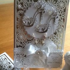 Tattered lace shoe die and xcut background die with matching box 21st Birthday Cards, Tattered Lace Cards, Bridal Shower Cards, Spellbinders Cards, Scrapbook Cards, Scrapbooking, Christmas Cards To Make, Heartfelt Creations, Mothers Day Cards