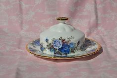 Royal Albert Moonlight Rose Domed Covered Butter Dish and Under Plate, Vintage China,Blue Roses Gilt for Tea Set Dinner Service, Rare Piece by ImagineHowCharming on Etsy