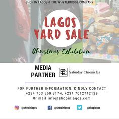 @saturdaychronicles will be joining our list of strategic partners towards the success of the #LagosYardSale Discount Exhibition in December!!  #Shopinlagos #BuyNigerian #supportinglocalentrepreneurs #madeinnigeria #ultimatediscountshopping
