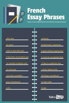 Are you struggling to write essays in French? Heres a list of 30 useful French essay words and phrases that will help you create more sophisticated written arguments for your exam (at school or for DELF) amp. French Expressions, French Language Lessons, French Language Learning, French Lessons, Spanish Lessons, A Level French, Ap French, French Kids, Funny French