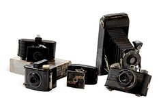 Instant collection of five wonderful old cameras, Elgin and Kodak models from 1940s and '50s.