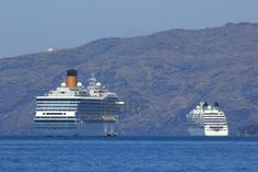 Cruise ship in Santorini Greece - travel background