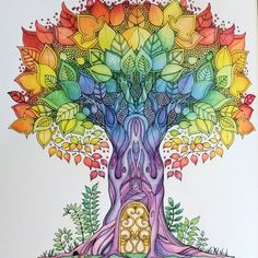 Tree with Door - Enchanted Forest - Johanna Basford Colouring Pages, Adult Coloring Pages, Coloring Books, Coloring Tips, Enchanted Forest Coloring Book, Johanna Basford Secret Garden, Secret Garden Coloring Book, Johanna Basford Coloring Book, Copics