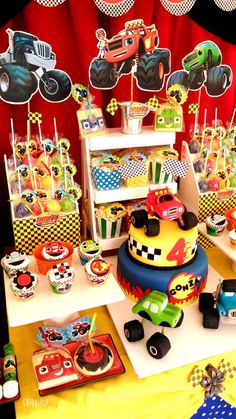 Gonzalo and the Monsters machines party Torta Blaze, Bolo Blaze, Blaze Cakes, Kids Birthday Themes, Cars Birthday Parties, 1st Boy Birthday, Blaze And The Monster Machines Party, Blaze The Monster Machine, Festa Monster Truck