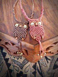 Macrame OWL pendant / necklace OWL / macrame by CreaZionSchmuck