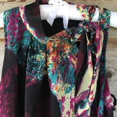 Miuse blouse  size small Teal, fushia, orange, black and cream colors  with beautiful neckline. Fully lined. Flowy and feminine Miuse Tops Blouses