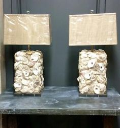 """Pair of Oyster Shell Lamps   32"""" High   Dealer #203  $995  Lost. . .Antiques 1201 N. Riverfront Blvd. Dallas, TX 75207  Monday - Saturday: 10am - 5pm Sunday 11am - 5pm  Find it all at L"""