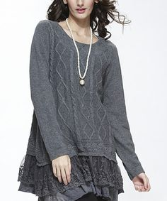 Gray Cable-Knit Layered Sweater #zulily #zulilyfinds