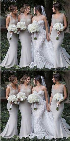 Mermaid V-Neck Backless Sweep Train Grey Bridesmaid Dress,Bridesmaid Gown ,WGY0153#bridesmaid dress#