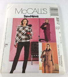 McCalls Sewing Pattern 3317 Misses Miss Petite Lined Jacket, Skirt, Pants and Scarf  Size D 12-14-16  23 pieces uncut factory folded with instructions.  Lined Jacket A, B or C with or without collar has princess seams, front button closure and two piece sleeves; Jacket C has contrast collar and mock welts; A-lined skirt or pants have front and back darts; back zipper closure; side seam pockets and faced waist.