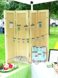 Shutters to display wraps. Cute!