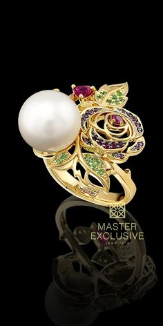 Master Exclusive Bouquet of Love Collection. Ring 13380 14K yellow gold, sea pearls, rubies,demantoids. Matching earrings.