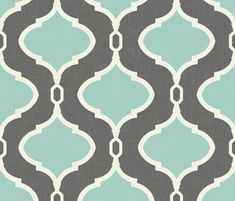 Alessandra Trellis in Charcoal and Mint fabric by sparrowsong on Spoonflower - custom fabric