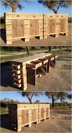 Wood Pallet Table or Cabinet with Huge Drawers