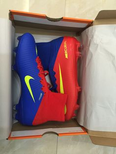 More 50% off New Nike Mercurial Superfly V FG Blue Red Yellow checkout    sportcleatsuk 96f5d2b858