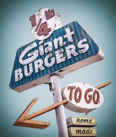 1/4 lb Burgers vintage sign