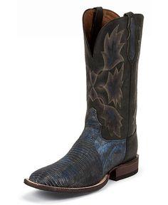 Tony Lama San Saba Tri-Tone Lizard Cowboy Boots - Square Toe