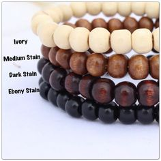 Men's Basic Wood Bracelet, Choice of Stain on Etsy, $6.00