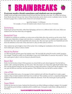 Brain Breaks for Middle/High School Students 3 pages  Teachers Pay Teachers $1  One Delightful Life Store https://www.teacherspayteachers.com/Store/One-Delightful-Life