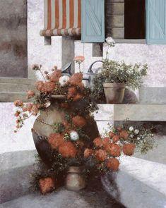 La Giara E I Fiori Rossi Painting by Guido Borelli