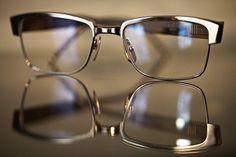 Thom Browne steel browline eyeglasses.