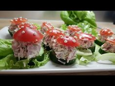 "Закуска ""Мухоморчики"" - YouTube Sushi, Japanese, Ethnic Recipes, Youtube, Food, Japanese Language, Essen, Meals, Youtubers"