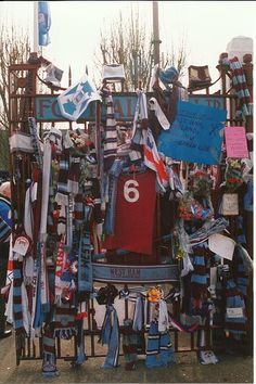The gates at West Ham's Boleyn Ground, Upton Park are adorned with tributes to the late Bobby Moore, March 1993
