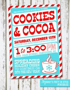 Hot Cocoa and Cookies Printable Invite in Kraft and Red Christmas