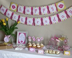 Pretty pink and yellow Mother's Day party printables from our Etsy shop.