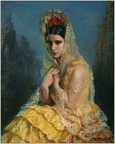 Lady with a Mantilla    George Owen Wynne Apperly.....@@@@@....http://www.pinterest.com/malurove/mantillas-y-peinetas-espa%C3%B1olas/