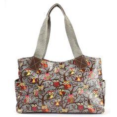 bff3c469f Anladia Cartoon Owl Print Oilcloth Shoulder Bag Canvas Strap Women Handbag  ** Click image to