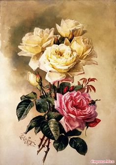 Винтажные цветы - картинки для декупажа