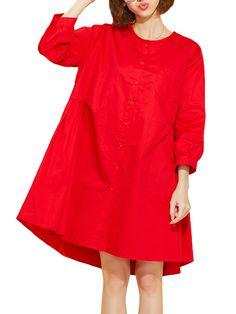 Sale 24% (27.69$) - Casual Women Long Sleeve Solid Color Loose Blouse Dress