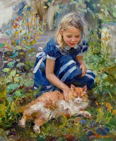 Elena Salnikova was born in Voronezh in 1970 She began to engage in the art studio with eight years. After graduating from art school in Voronezh arrived in Lipetsk State Classic Art, Art Painting, Russian Art, Figure Painting, Cat Art, Female Art, Illustration Art, Childrens Art, Art Pictures